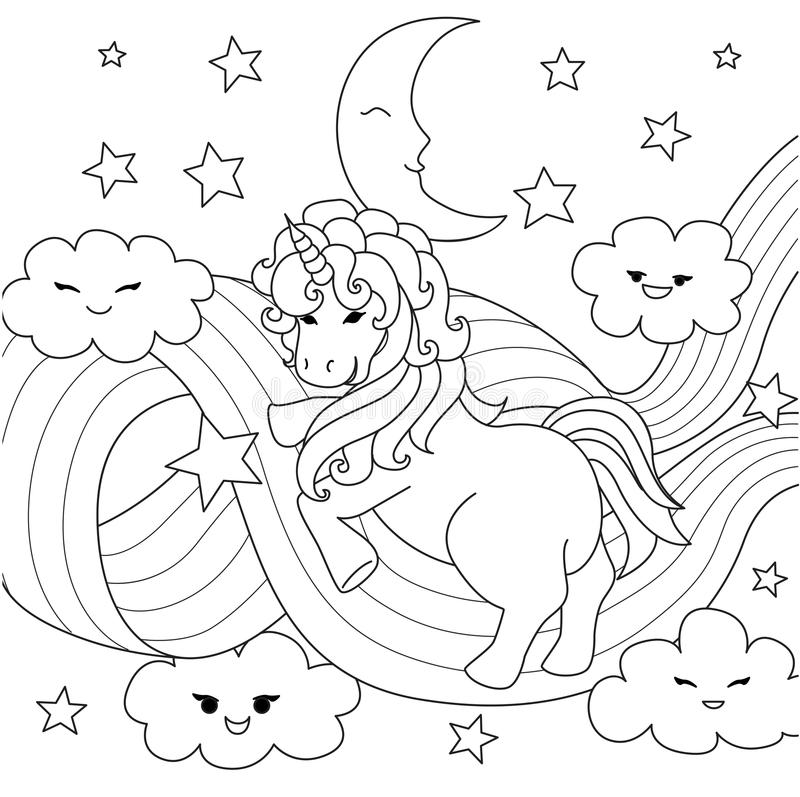 Unicorn playing with rainbow path for design element and coloring book page. Vector illustration vector illustration