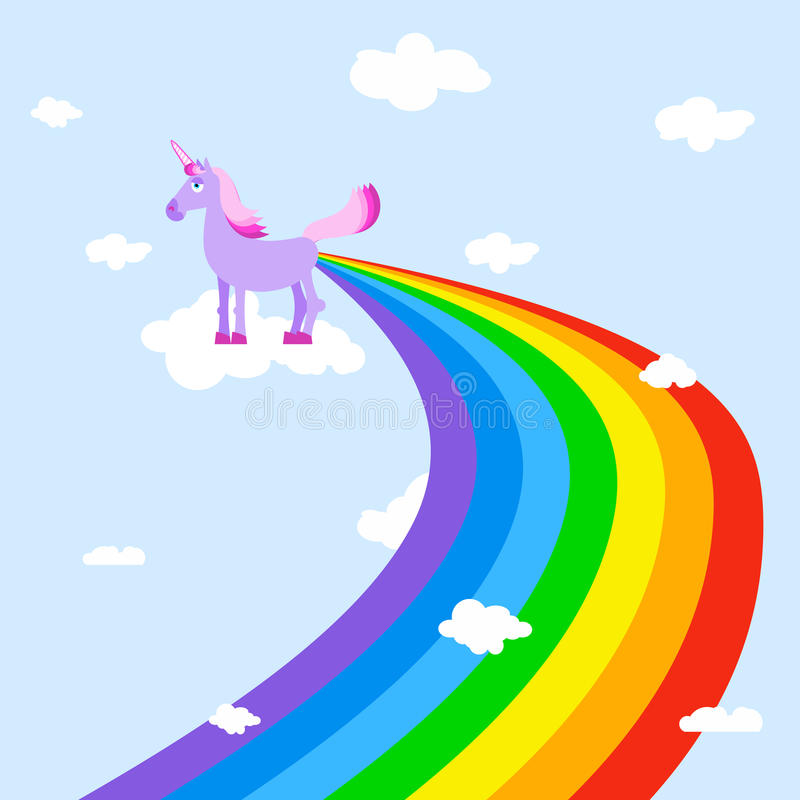 Unicorn pooping rainbows. Fantastic animal in sky. White clouds. stock illustration