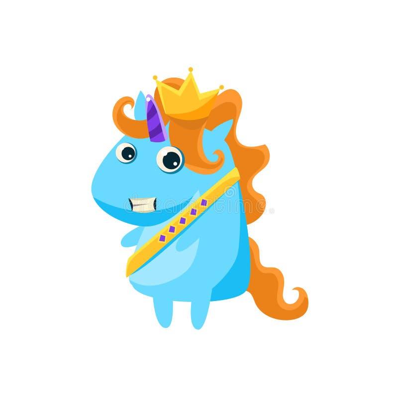 Unicorn In Prince Charming Costume stock de ilustración
