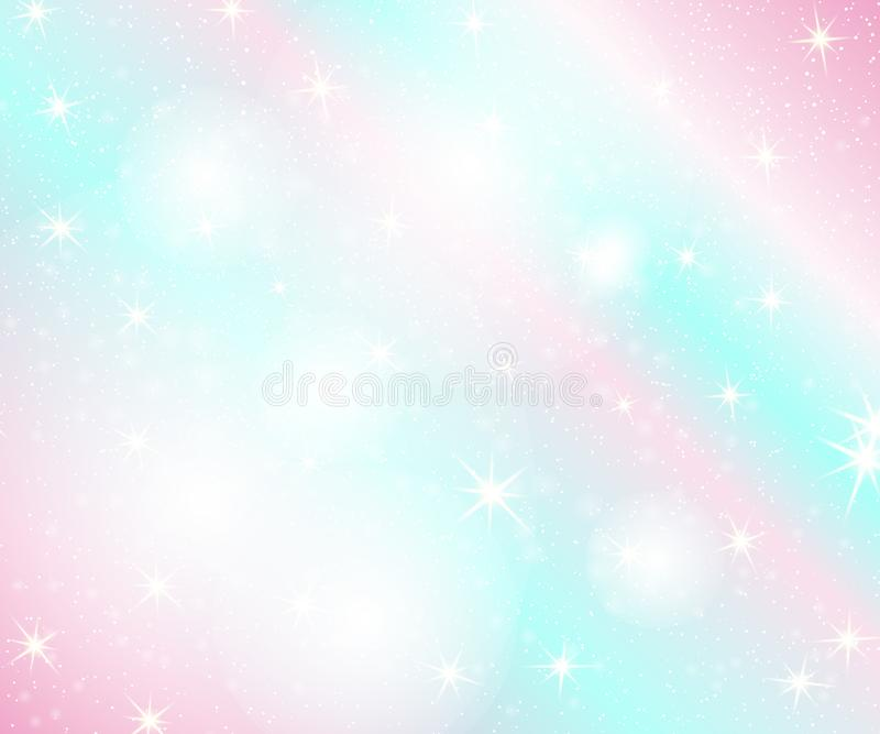 Unicorn rainbow background. Holographic sky in pastel color. Bright mermaid pattern in princess colors. Vector illustration. vector illustration