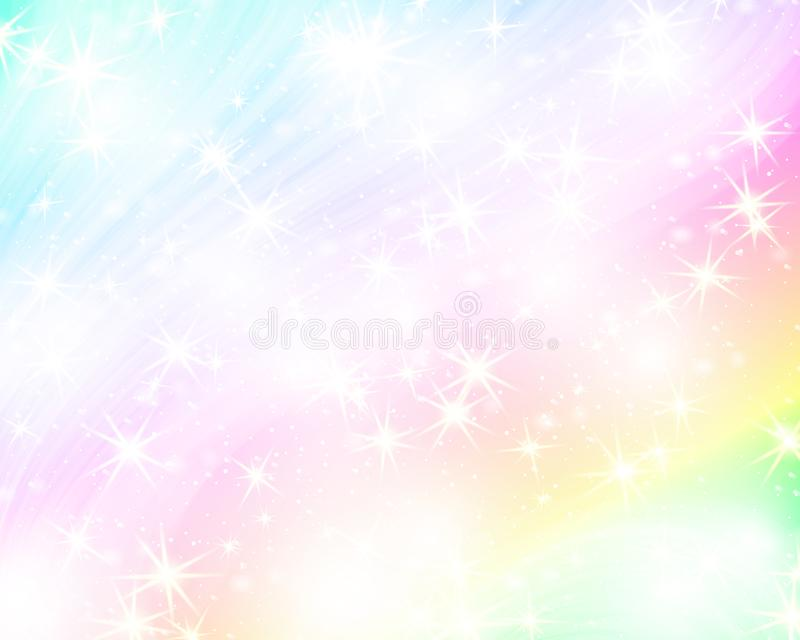 Unicorn rainbow background. Holographic sky in pastel color. Bright mermaid pattern in princess colors. Vector illustration. Fantasy gradient colorful backdrop vector illustration