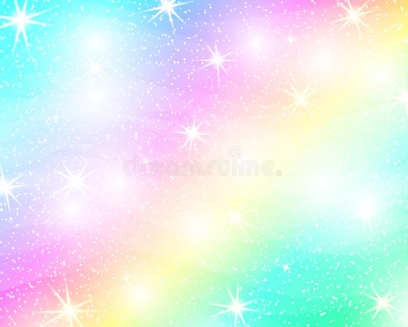 Unicorn rainbow background. Holographic sky in pastel color. Bright mermaid pattern in princess colors. Vector illustration. Fantasy gradient colorful backdrop royalty free illustration