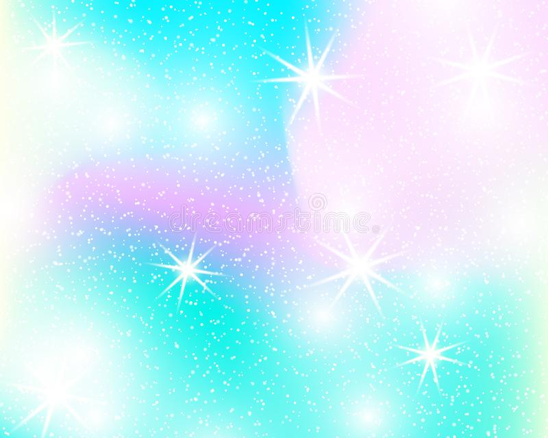 Unicorn rainbow background. Holographic sky in pastel color. Bright mermaid pattern in princess colors. Vector illustration. stock illustration