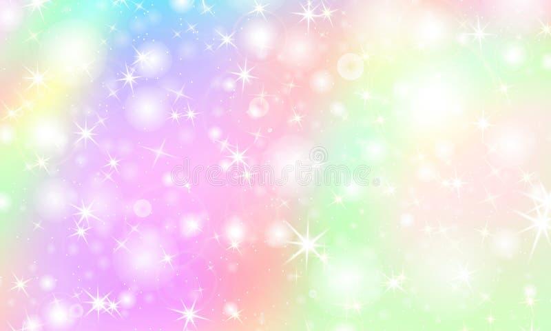 Unicorn rainbow background. Holographic sky vector illustration