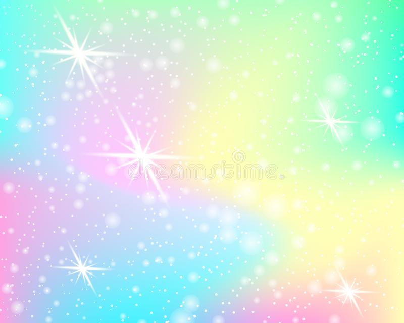 Unicorn rainbow background. Mermaid pattern in princess colors. Fantasy colorful backdrop with rainbow mesh. Unicorn rainbow background. Holographic sky in vector illustration
