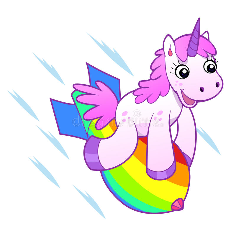 Unicorn on rainbow bomb. Unicorn flying on the rainbow bomb stock illustration