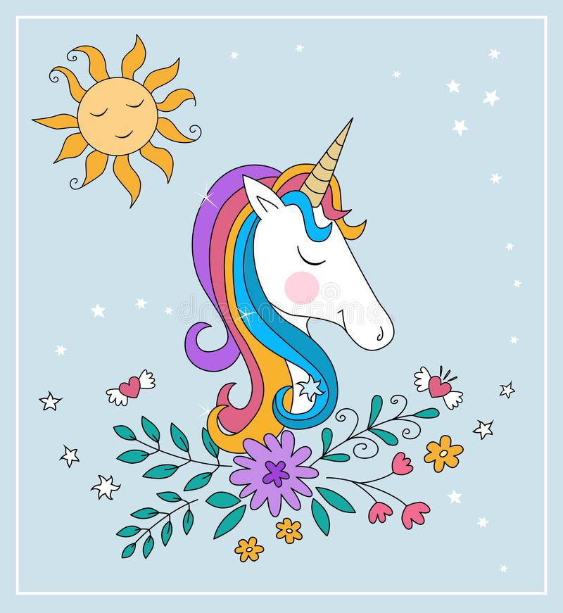 Unicorn Rainbow-illusration stock illustratie