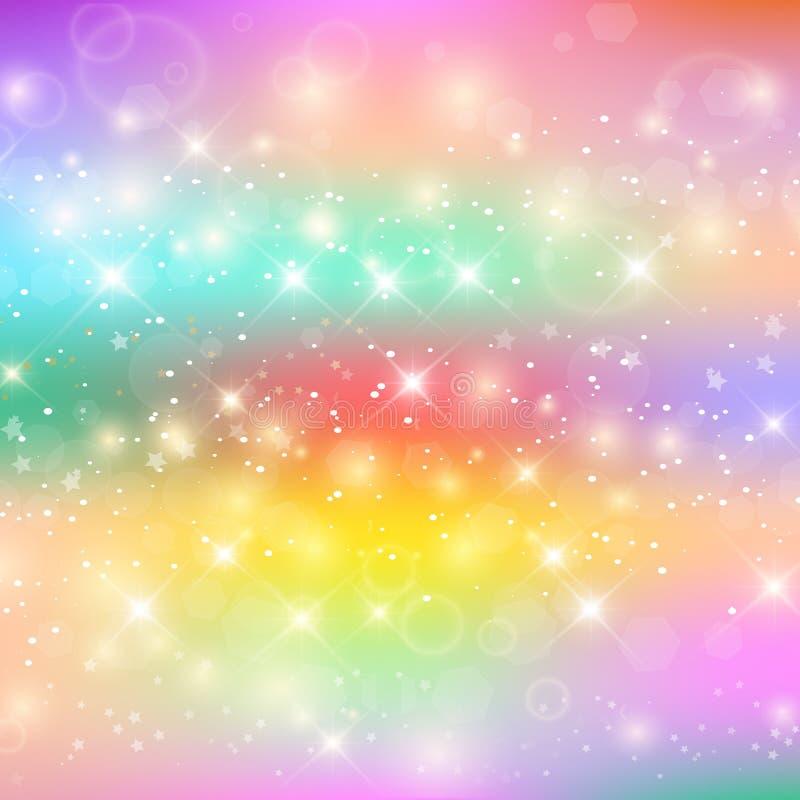 Unicorn Rainbow på Holographic glödhimmelbakgrund royaltyfri illustrationer