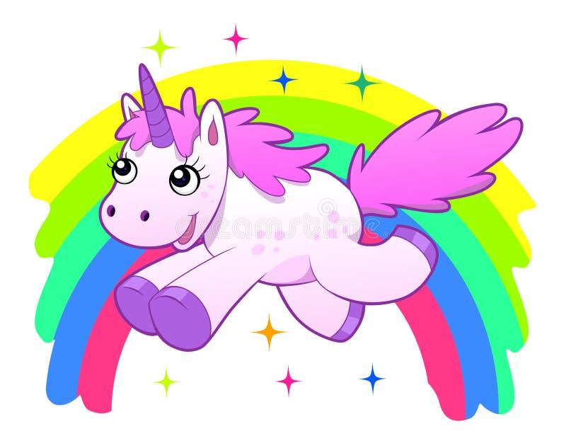 Unicorn and rainbow. Running cartoon unicorn against the rainbow. Vector illustration