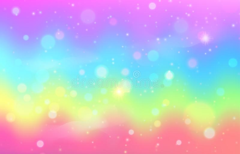 Unicorn rainbow wave background. Mermaid galaxy pattern. With shiny dots particles. Pastel pink, blue, green, yellow, violet color. Vector illustration royalty free illustration