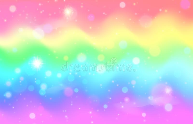 Unicorn rainbow wave background. Mermaid galaxy pattern. With shiny dots particles. Pastel pink, blue, green, yellow, violet color. Vector illustration vector illustration