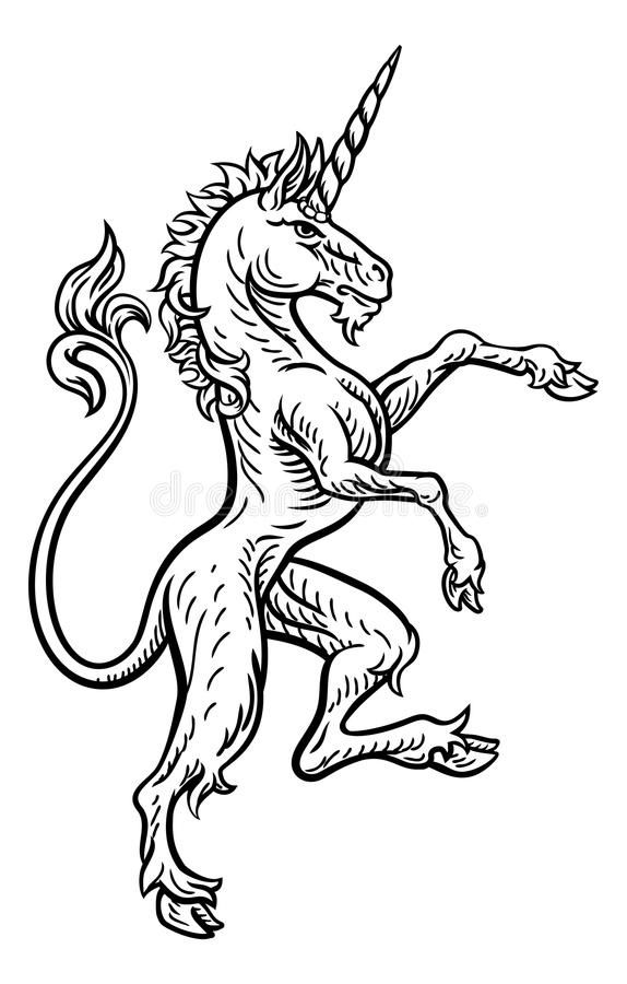 Unicorn Rampant Heraldic Crest Coat of Arms. A rampant unicorn standing on hind legs from a coat of arms or heraldic crest stock illustration