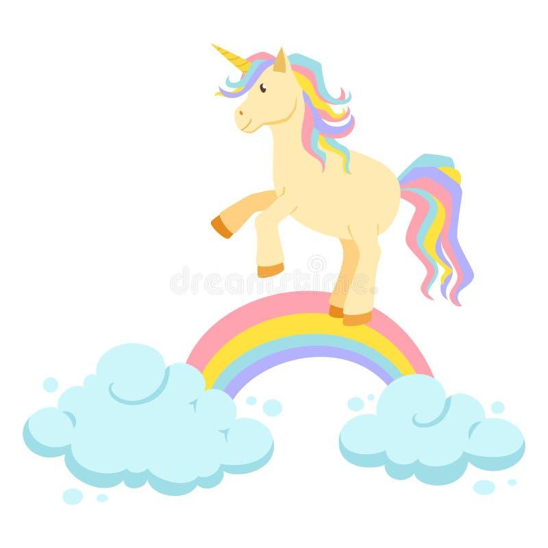 Unicorn ride on rainbow stock vector. Illustration of