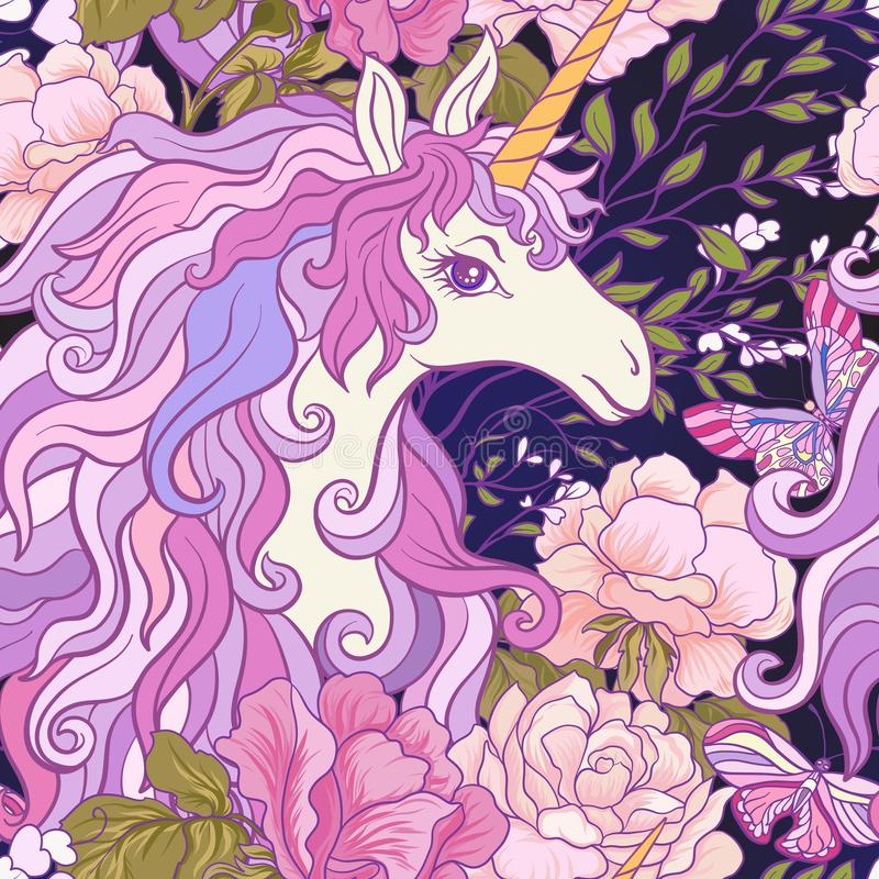The unicorn, roses and butterflies Seamless pattern in pink, pur stock illustration