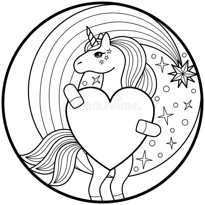 Unicorn Round Print stock de ilustración