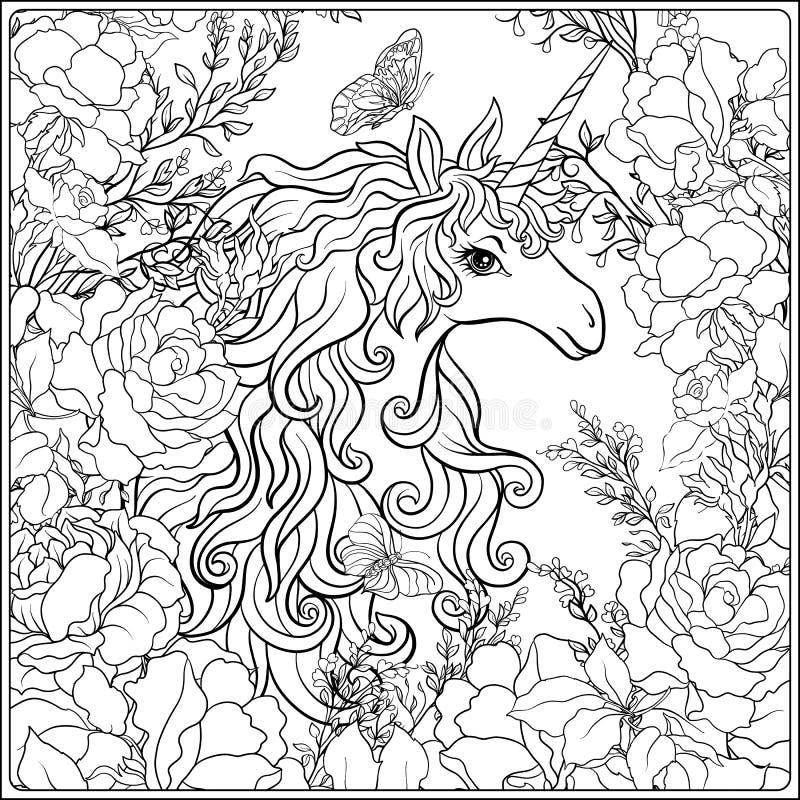 unicorn Sammansättningen består av en enhörning som omges av ett b royaltyfri illustrationer