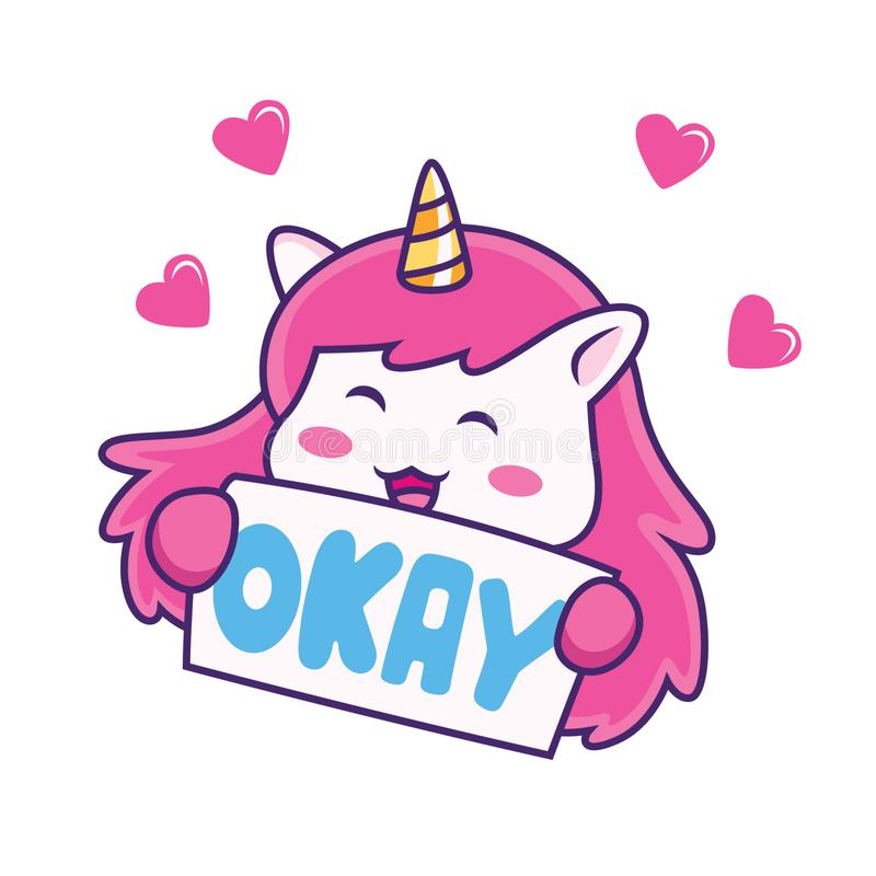 unicorn say okay expression with love royalty free illustration