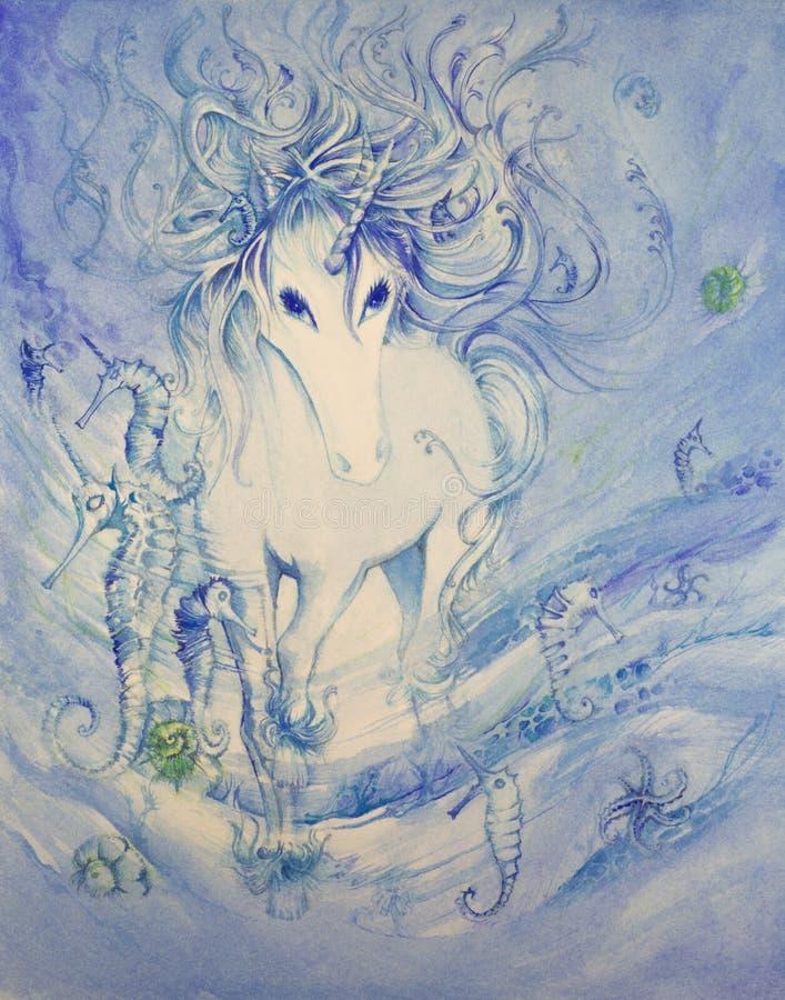 Unicorn Scene subacqueo nel colore di acqua illustrazione di stock