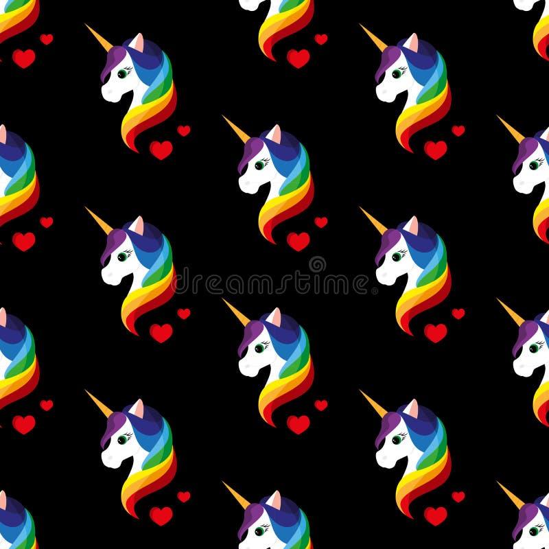 unicorn seamless vektor för illustration royaltyfri illustrationer