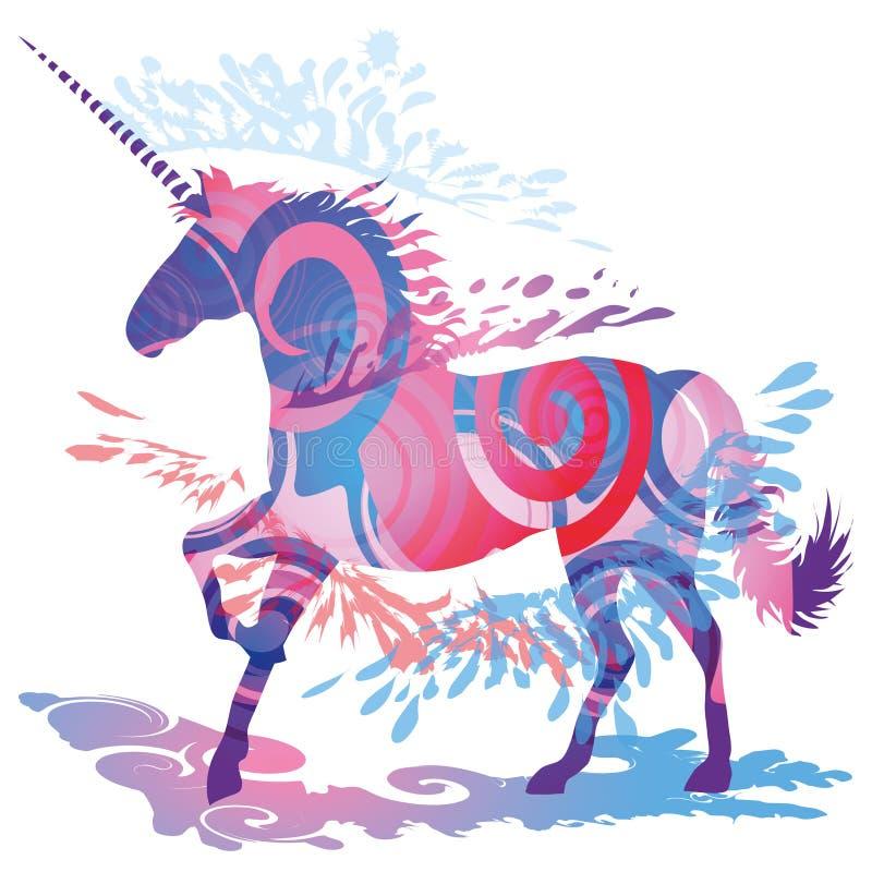 Unicorn. Shadow blob with a blue unicorn