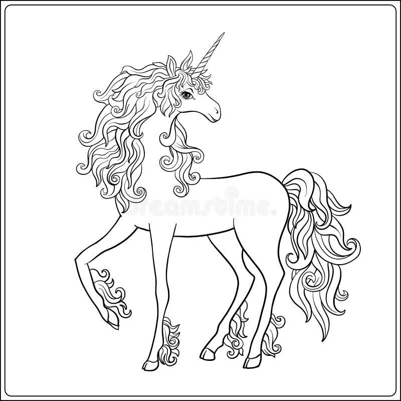 unicorn Sida för färgläggning för översiktsteckning Färgläggningbok för vuxen människa stock illustrationer