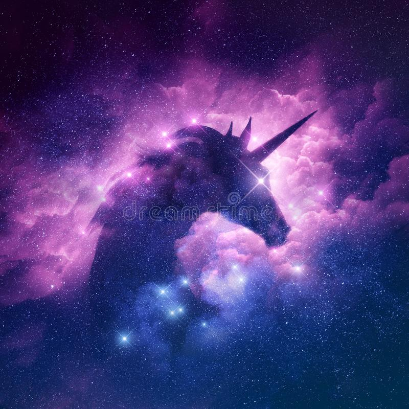 Unicorn Nebula Background. A unicorn silhouette in a galaxy nebula cloud. Raster illustration
