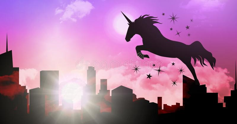 Unicorn Silhouette Jumping In Front Of Moon Stock