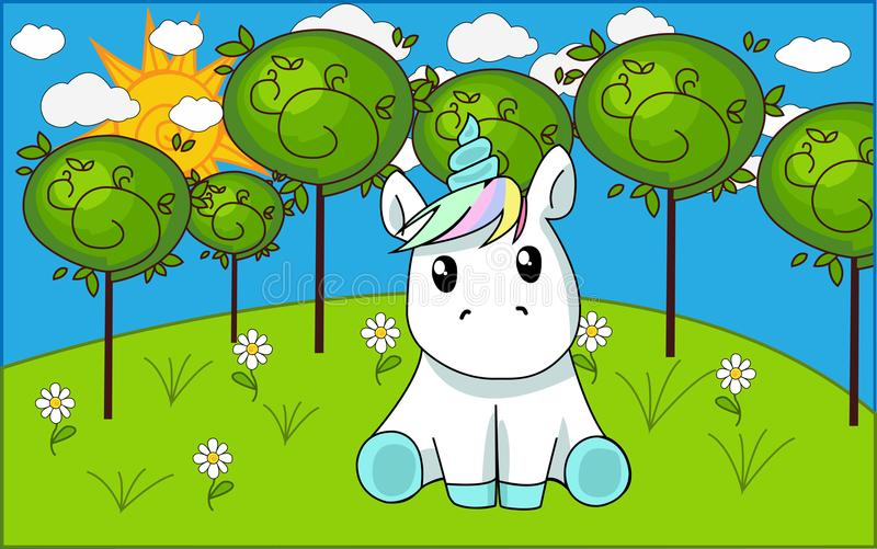 The unicorn sits in a meadow vector illustration