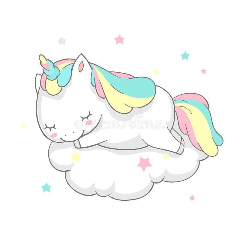 Unicorn Sleep Fairy Dream Poster-Vektor-Schablone Magische Karten-Aquarell-Druck-Schablone mit kleinem Horn Pony Sleeping an stock abbildung