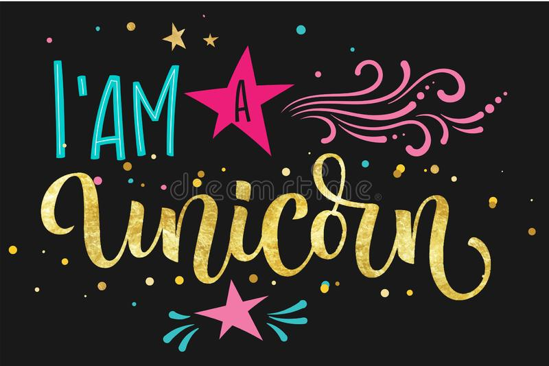 Unicorn Squad hand drawn isolated colorful gold foil calligraphy text on dark background stock illustration