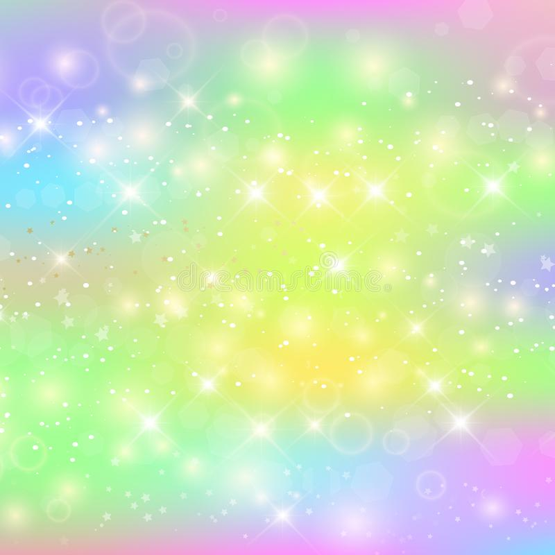 Unicorn square background with rainbow mesh. Kawaii universe banner in princess colors stock illustration