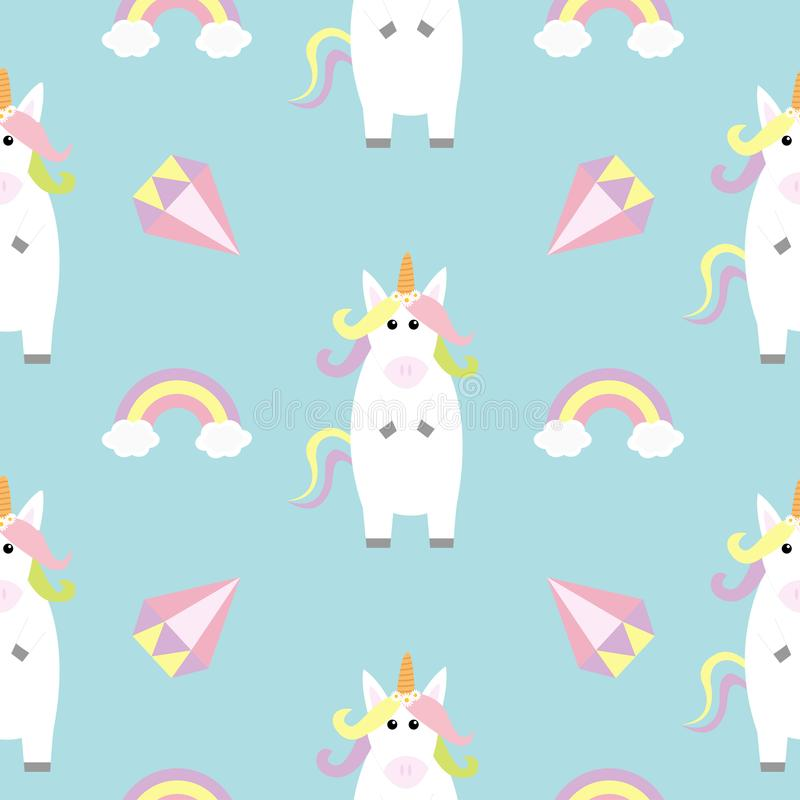 Unicorn standing Kawaii head face. Rainbow Diamond brilliant. Pastel color. Cute cartoon baby character. Funny horse. Seamless Pat. Tern. Wrapping paper, textile royalty free illustration