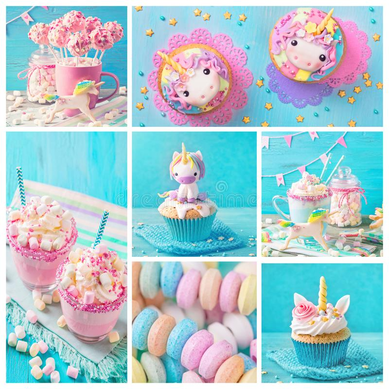 Unicorn sweets for a party. Collage with unicorn sweets for a party stock photo