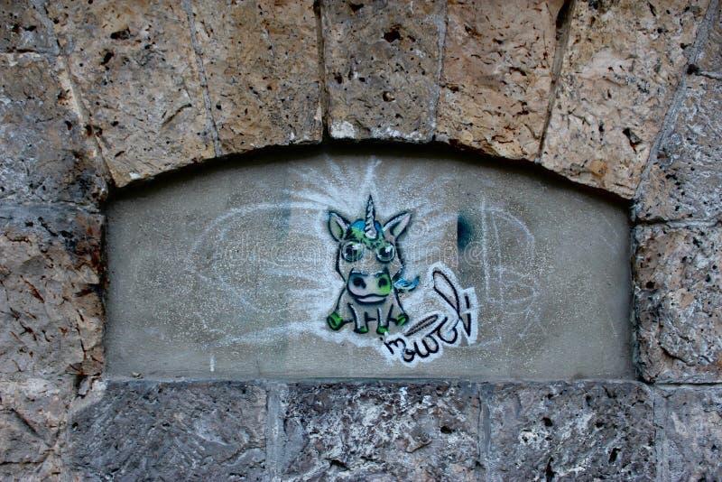 Unicorn Tag dans l'arcade de Paris photo libre de droits