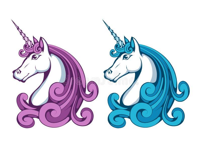 unicorn Tecknad filmenhörninghuvud Magiskt djur stock illustrationer