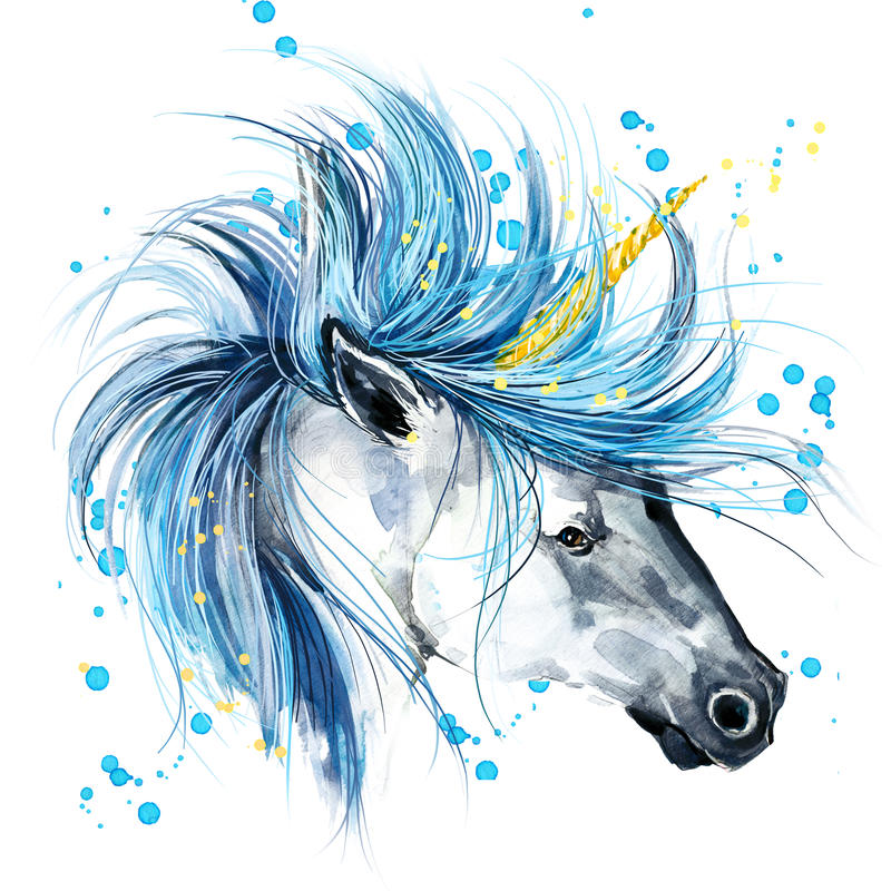 Unicorn. Unicorn watercolor illustration. Magical Unicorn. vector illustration