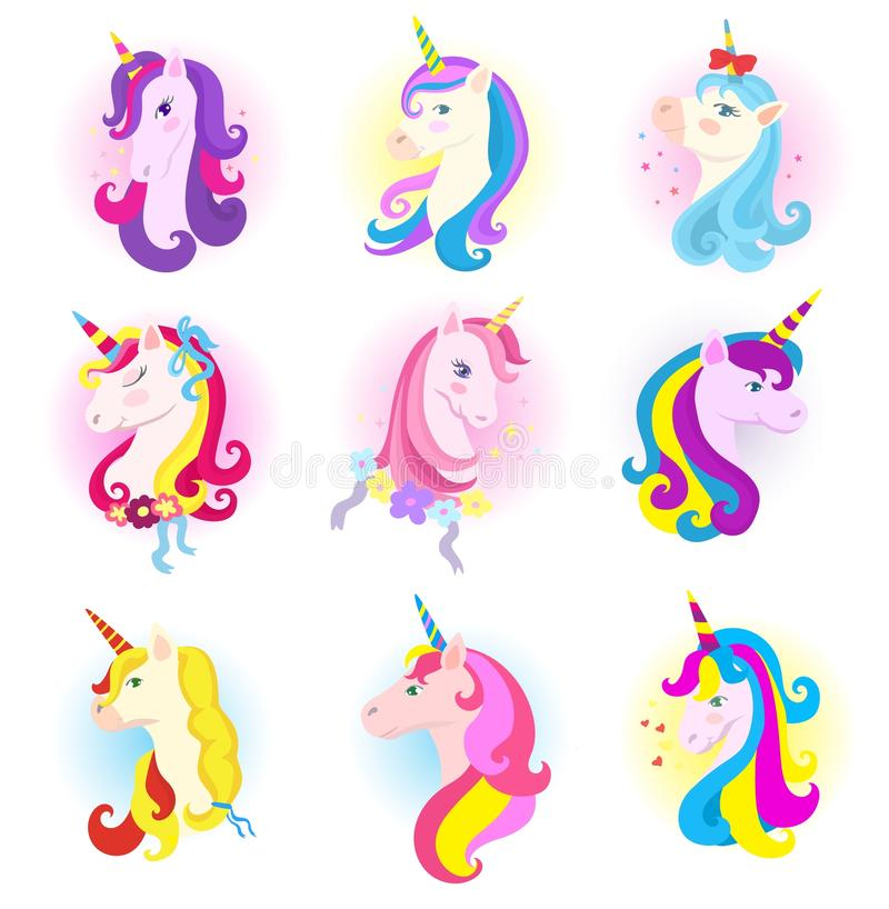 Unicorn vector cartoon horse character with magic horn and rainbow mane in children dreams illustration horsey set of royalty free illustration