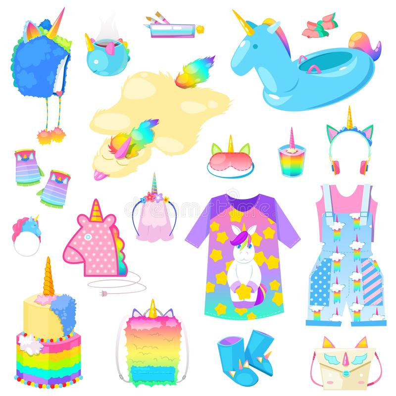 Unicorn vector cartoon kids accessories or clothing in girlish horse with horn style and colorful ponytail illustration. Set of fantasy child ponytailed animal stock illustration
