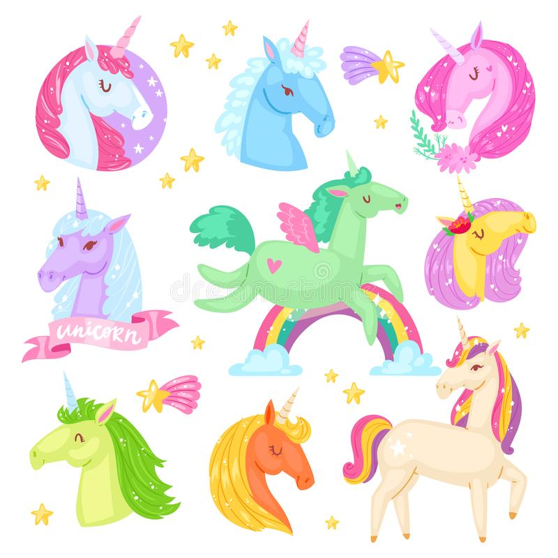 Unicorn vector cartoon kids character of girlish horse with horn and colorful ponytail in love illustration set of. Fantasy child ponytailed animal with wings royalty free illustration