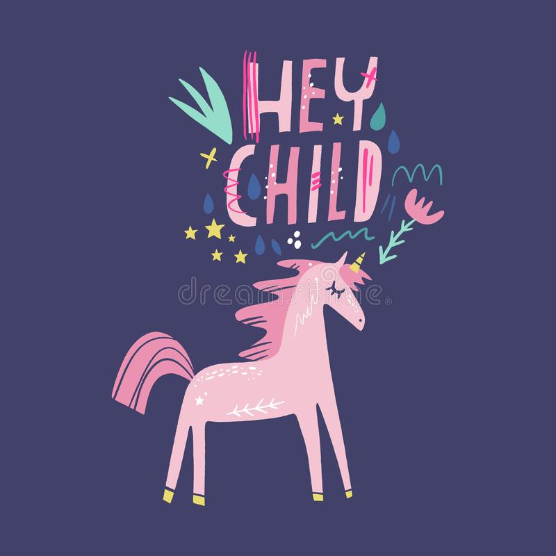 Unicorn vector, cute nursery wall art, animal prints, pastel baby room decor pictures, clip art. Illustrator EPS and JPG royalty free illustration