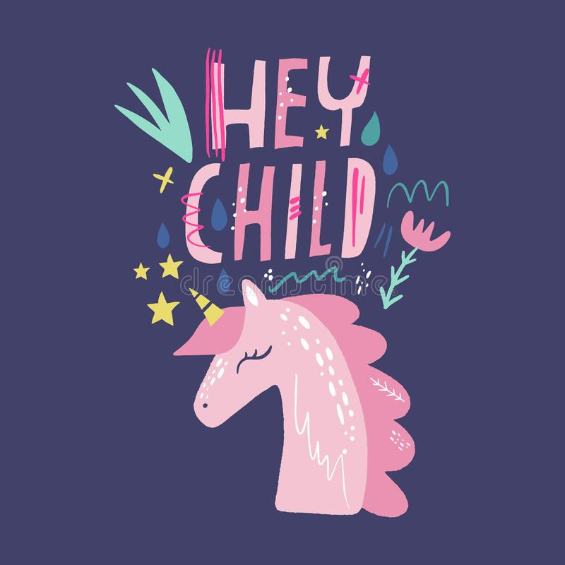 Unicorn vector, cute nursery wall art, animal prints, pastel baby room decor pictures, clip art. Illustrator EPS royalty free illustration