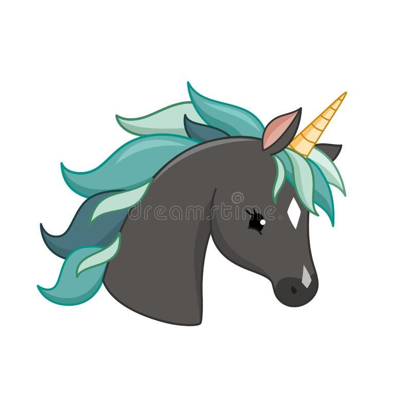 Unicorn vector icon isolated on white. Head portrait horse sticker, patch badge. Cute magic cartoon fantasy cute animal. vector illustration
