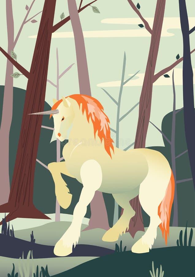 Unicorn Vector Illustration Bandera con el unicornio blanco en fondo del bosque Ejemplo animal mágico libre illustration