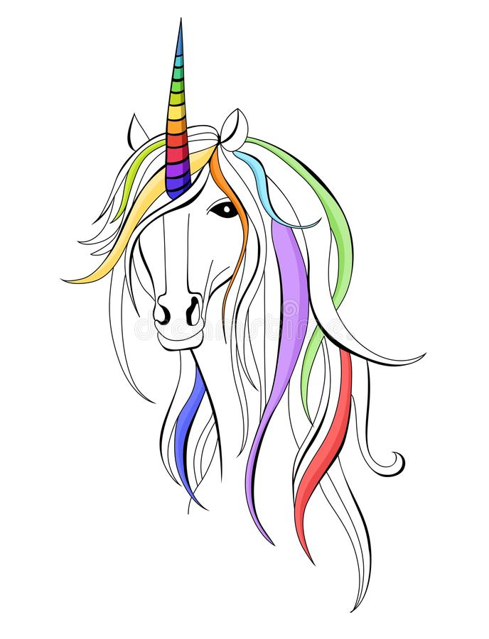 Unicorn. Vector illustration with colorful beautiful unicorn stock illustration