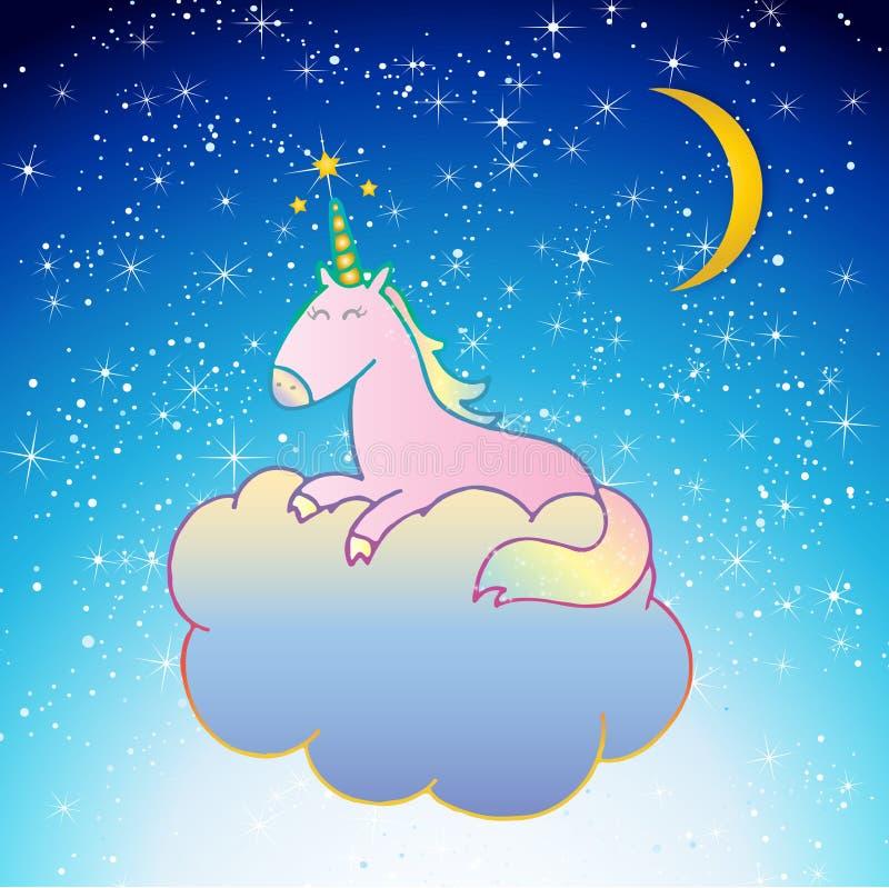 Unicorn Vector rosado que duerme en una escena de la noche de la nube stock de ilustración