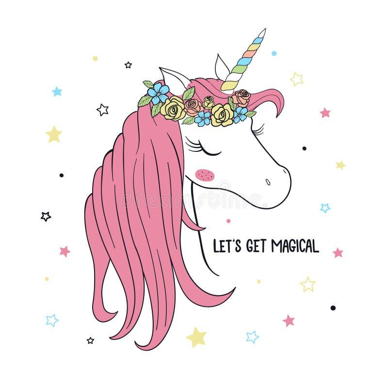 unicorn Vectorillustratie voor Jonge geitjes royalty-vrije illustratie
