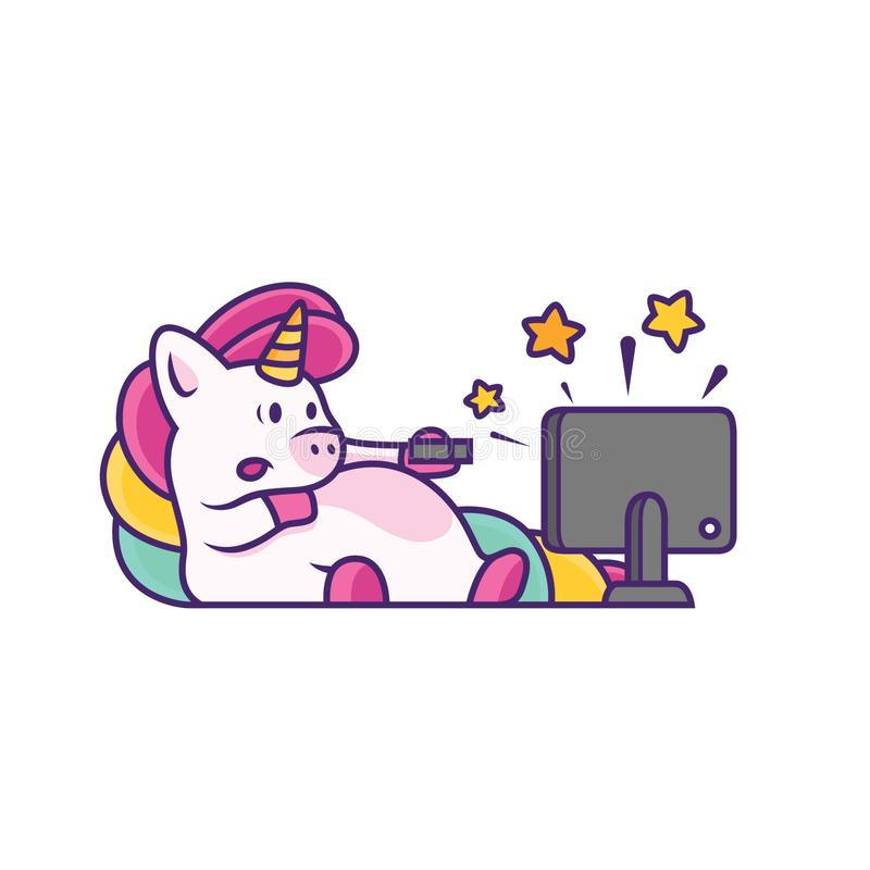 unicorn watch television with cute expression stock illustration