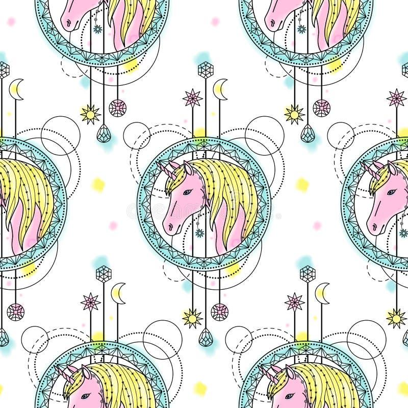 Unicorn Watercolor Seamless Pattern libre illustration