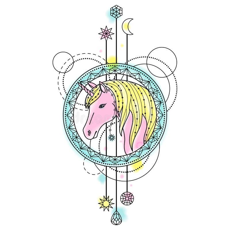 Unicorn Watercolor Tattoo libre illustration