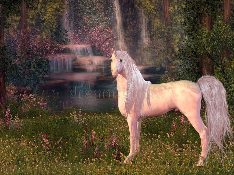 Unicorn and Waterfall. A magical white Unicorn stallion stands in front of a forest pond with waterfalls of gleaming water vector illustration
